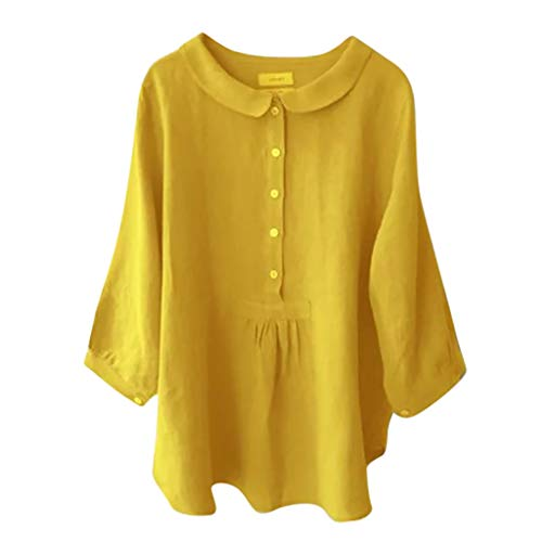 DONTAL Women Fashion Turn Down Collar Solid Color Three Quarter Top T Shirt Blouse Yellow