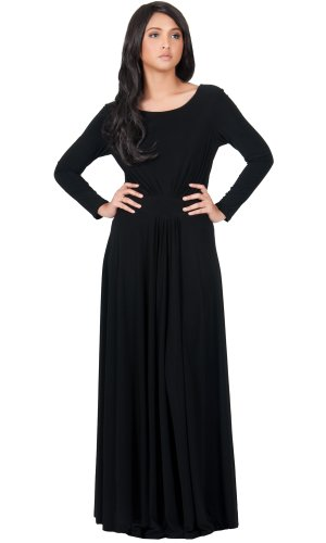 KOH KOH Plus Size Womens Long Sleeve Flowy Empire Waist Fall Winter Party Gown Maxi Dress, Color Black, Size 3X Large (5) / 3XL / 22-24