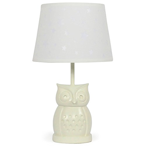 Fitter Cfl - White Star Nursery Lamp Shade with White Owl Base, CFL Bulb Included