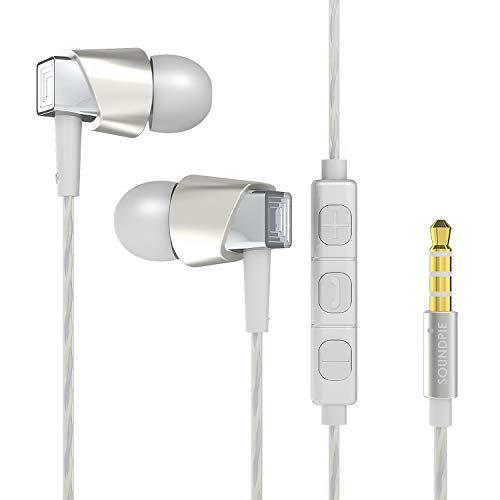 SoundPie SP33 Zinc AI Smart Premium Metal in-Ear Noise-isolating Stereo Earbuds with Microphone and Control for Apple,iPhone,iPad,iPod Samsung and Google (Leather Carry Case, Extra Ear Tips, Silver)
