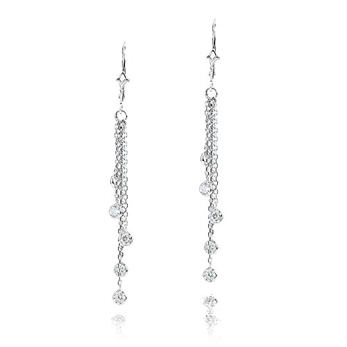 Luxurman Ladies 14k Chandelier Earrings With Natural 1 Ctw Diamonds By The Yard For Her (White Gold) (14k Diamond Chandelier Earrings)