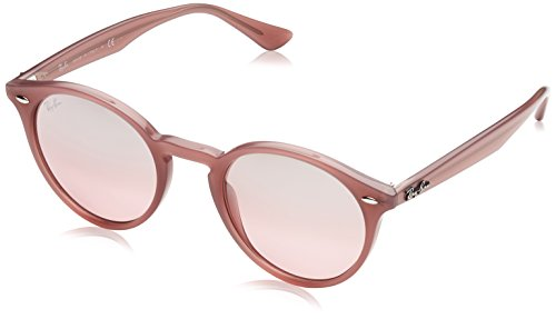 Ray-Ban RB2180 Round Sunglasses, Opal Antique Pink/Pink Mirror Silver Gradient, 49 mm