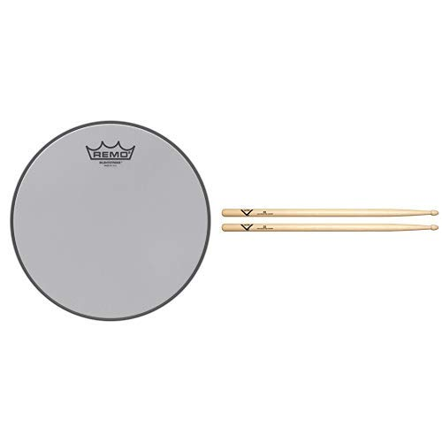Remo Silentstroke Drumhead, 10'' with Vater 5B Wood Tip Hickory Drum Sticks, Pair by Remo