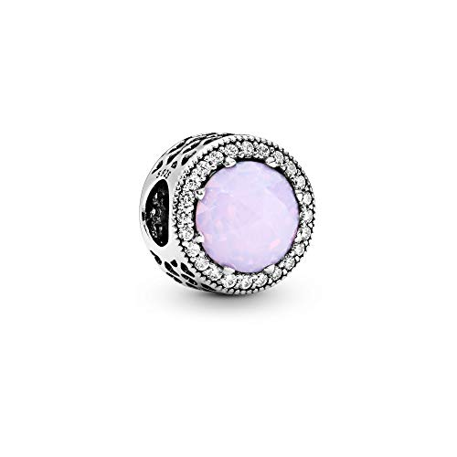Pandora Jewelry – Sparkling Opalescent Pink Charm in Sterling Silver with Pink Crystal and Clear Cubic Zirconia