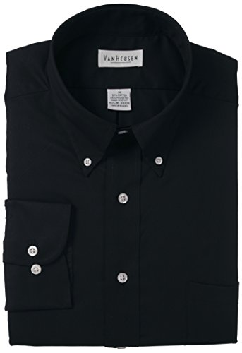 - Van Heusen Regular Fit Twill Solid Button Down Collar Dress Shirt, Black, X-Large