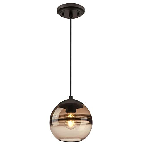 Westinghouse Lighting 6366800 One-Light Indoor Mini Pendant Light, Oil Rubbed Bronze Finish with Amber Glass ()