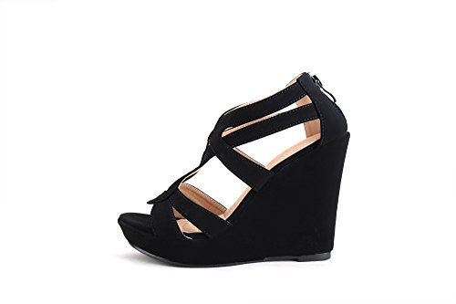 0330bc9996f Mila Lady Lisa 5 Zippered Strappy Open Toe Platform Wedges Heeled Sandals  Shoes for Women