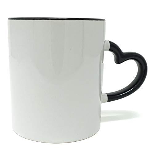 - MITBAK Coffee Mug with Heart Shape Handle (12 oz) | White & Black Ceramic Coffee/Tea Mug | Microwave Proof and Dishwasher Safe (Blacl)