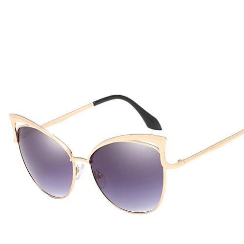 Sunglasses gray Protection Zhhyltt Gold lunettes Mirror Men's de Women's Unisex frame UV400 des soleil O8PqvZO