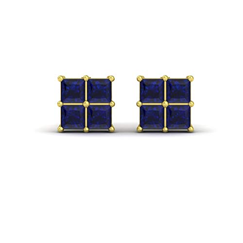 Diamondere Natural and Certified Princess-Cut Blue Sapphire Stud Earrings in 14K Yellow Gold | 0.54 Carat Earrings for Women ()