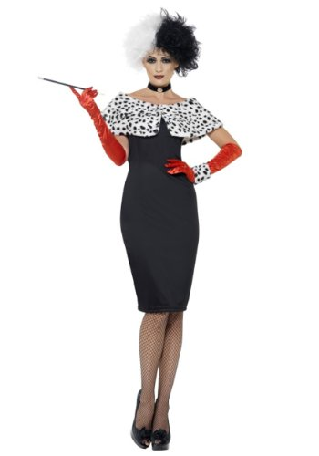 Smiffy's Women's Evil Madame Costume, Dress, Gloves, Shrug, Cuff and Choker, Wings and Wishes, Serious Fun, Size 14-16, 32806 - Cruella De Vil Movie Costumes
