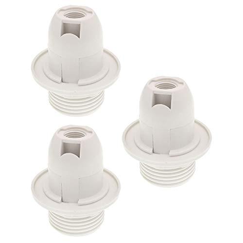 (TWDRTDD Candelabra e12 base Bakelite threaded keyless light lamp socket with Metal Shade Ring (3, White))