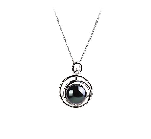 Kelly Black 9-10mm AA Quality Freshwater 925 Sterling Silver Cultured Pearl Pendant For Women (Fw Necklace Pendant Pearl)