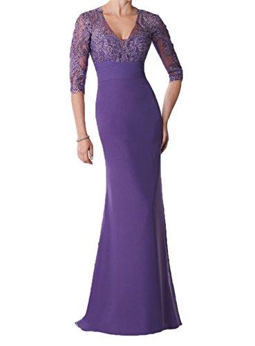 Blau Promkleider Damen Brautmutterkleider Charmant Langarm Chiffon Abendkleider Partykleider Navy Lila Bodenlang On0F0xp
