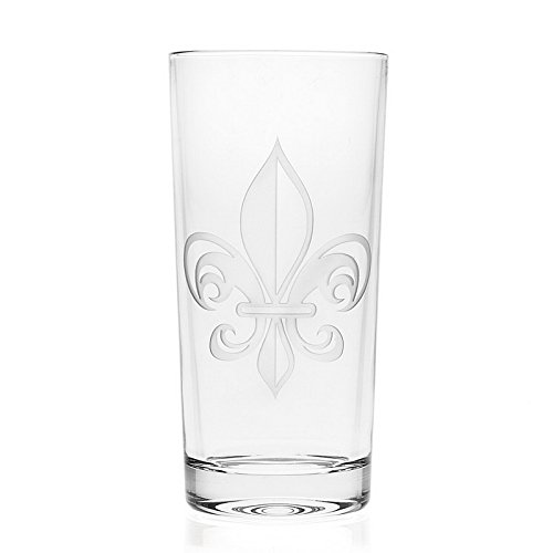 OKSLO 44807 fleur de lis set of 4 highball glasses - 12oz