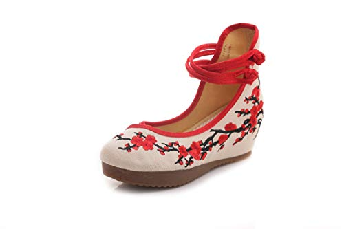 of Shoes Slope and The White The Shoes Shoes Espadrilles Women's Embroidered Embroidered Bottom Flats Ballet Chinese Wind The qAwzXX