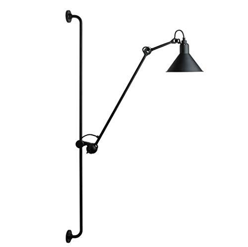 YdIron Long Arm Wall Lamp, Nordic Art Adjustable Swing Arm Wall Light, Modern Minimalist Living Room Bedroom Wall Sconces LED Mirror Headlight, E27, Max40W,Black