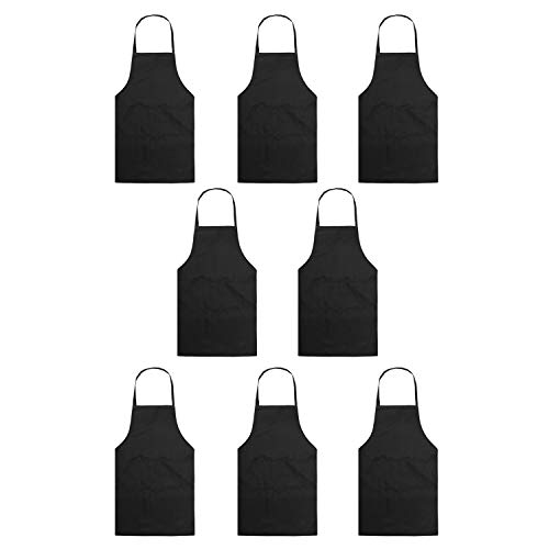 YUYIKES Set of 8 Black Women Adult Bib Aprons with 2 Roomy Pockets Water Resistant Adjustable Kitchen Chef Aprons for Cooking Baking Kitchen Restaurant Crafting (Black)