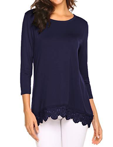 Crochet Trim Tunic (Halife 3/4 Sleeve Shirts for Women Casual Crochet Lace Tunic Tops Flowy T-Shirt Blouse Navy Blue,S)