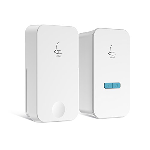 Price comparison product image Linbell Self Powered Wireless Doorbell, No Batteries Required for Remote Button and Receiver,1 Remote Button and 1 Plug in Receiver with 36 Chimes, 5 Volume Levels and LED Indicator, (White)