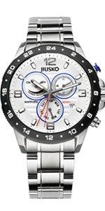 Jiusko Mens Multifunction Analog Quartz 200m Silver Watch - Sapphire - Dual Time 24 Hour - Alarm -  Stainless Steel - Day Date - 128LSB01 by JIUSKO