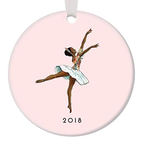 "Nutcracker Ballet Ornament Christmas 2018 Black Ballerina Dancing Sugarplum Fairy Dance Performance Porcelain Gift Idea 3"" Flat Pink Ceramic Dancer Keepsake with White Ribbon & Free Gift Box OR00032"