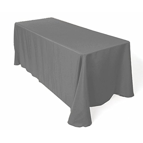 Gray Charcoal Tables (Gee Di Moda Rectangle Tablecloth - 90 x 156 Inch - Charcoal Rectangular Table Cloth for 8 Foot Table in Washable Polyester - Great for Buffet Table, Parties, Holiday Dinner, Wedding & More)