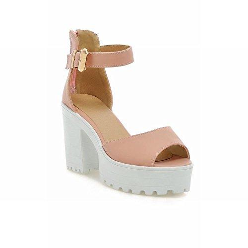 Carol Shoes Womens Buckle Fashion Sweet Elegance Zipper Open-toe Platform High Chunky Heel Sandals Pink