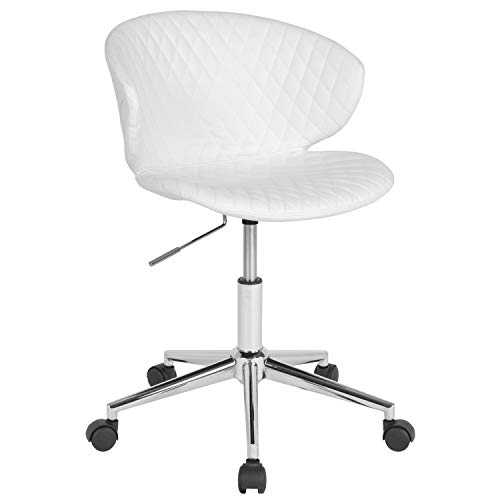 Flash Furniture Cambridge Home and Office Upholstered Mid-Back Chair in White Vinyl