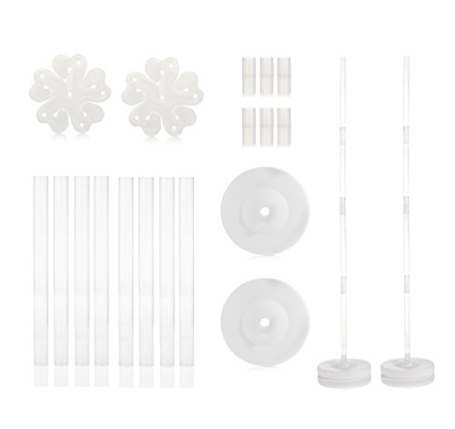 2 Sets Balloon Column Stand Kits by WYN-Marts 4 Feet Height AND 2lb Water Fillable Base, Free 2 PCS Balloon Flower Holder Clips, 100% Satisfaction Guarantee