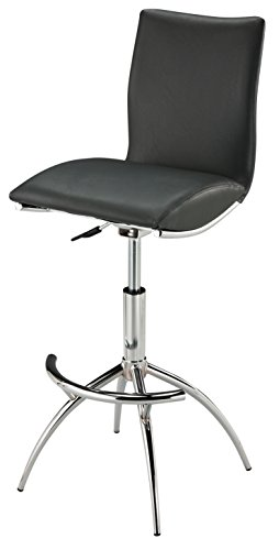 Creative Images International Minimalist Collection Height Adjustable Swivel Leatherette Bar Stool with Cushion and Gas Lift, Gray ()