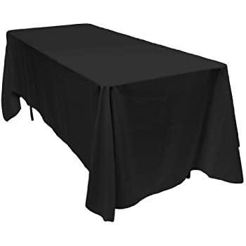 Wonderful LinenTablecloth 70 X 120 Inch Rectangular Polyester Tablecloth Black
