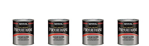 Minwax 63000 Fast Drying Polyurethane Clear Gloss, Quart (4-Pack) by Minwax
