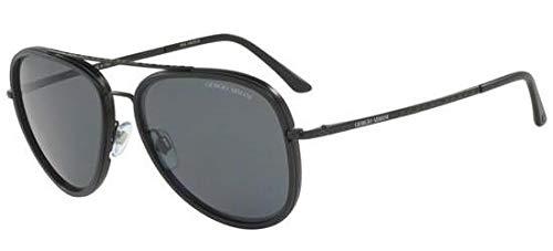 Giorgio Armani Mens Sunglasses (AR6039) Black Matte/Grey Metal - Polarized - 56mm