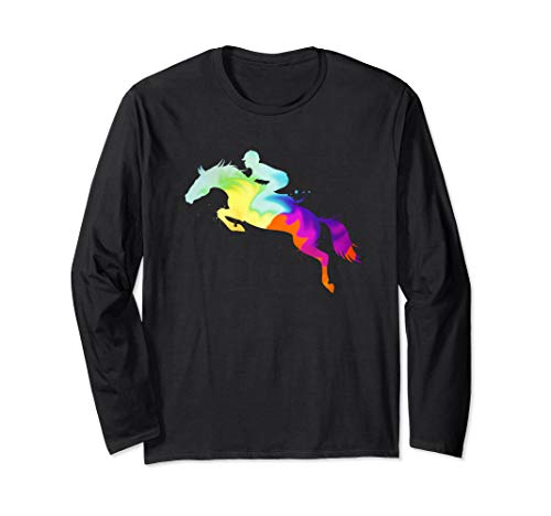 Watercolor Art Jumping Horse Long Sleeve T-Shirt