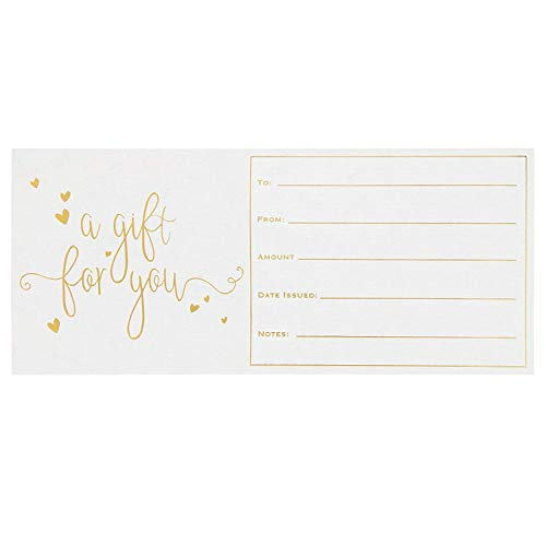 50-Pack Blank Gift Certificate Cards - Gift Vouchers for Christmas Holiday, Business, Birthday, Wedding, Spa Massage, Beauty Hair Salon, Gold Foil Print, 250GSM Cardstock, 4 x 9 Inches