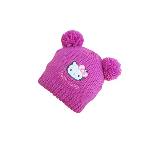 Girl Hello Kitty Winter Hat Warm Flur Cap Knit Woolen Beanie Pink White (Pink, for -