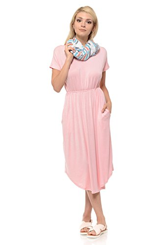 luxe USA Sleeve Midi Blush Floral Solid Made Women's in Flare iconic in Dress Short Pockets adSpWqnq1