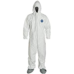 DuPont Industrial & Scientific TY122S – 2XL TY122S EACH 2XL Disposable Elastic Wrist, Bootie and Hood Tyvek Coverall Suit 1414 White