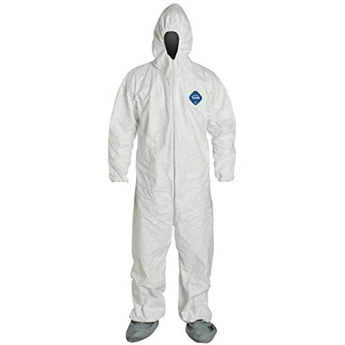 DuPont TY122S Large EACH Disposable Elastic Wrist, Bootie and Hood Tyvek Coverall Suit 1414 White
