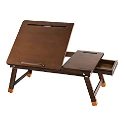 Laptop Lap Desk Nnewvante Bed Tray Table Adjustable 100% Bamboo Foldable Laptop Table Breakfast Serving Tray W' Tilting Top Drawer Leg Lock Chestnut Color