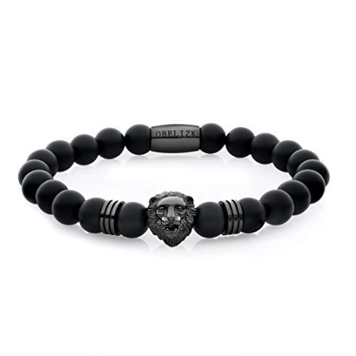 Obelizk Perlen-Armband für Männer | Löwen-Armband mit Onyx Natursteinperlen | Lion-Armband | Geschenk Schmuck-Box + Luxury Herren Accessoires Guide | Löwenkopf