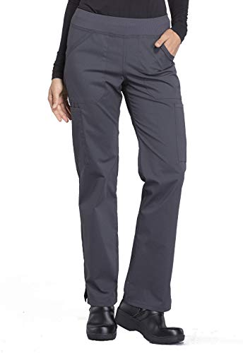 Cherokee Workwear Professionals Mid Rise Straight Leg Pull-on Cargo Scrub Pant, M Petite, Pewter (Color: Pewter, Tamaño: Medium Petite)