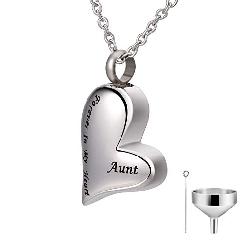 CAT EYE JEWELS Aunt Forever in My Heart Keepsake Memorial Urn Necklace with Funnel Kit