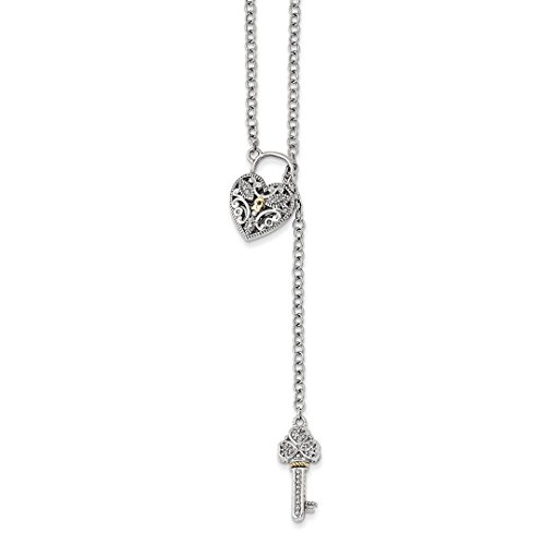 Silver Sterling Diamond Keychain (ICE CARATS 925 Sterling Silver 14kt Diamond Heart Lock Key Chain Necklace S/love Fine Jewelry Ideal Gifts For Women Gift Set From Heart)
