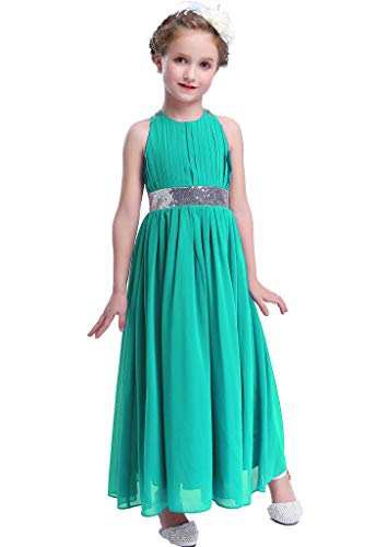 - Happy Rose Bling Bling Sequins Chiffon Girls Dress Teal Size 10