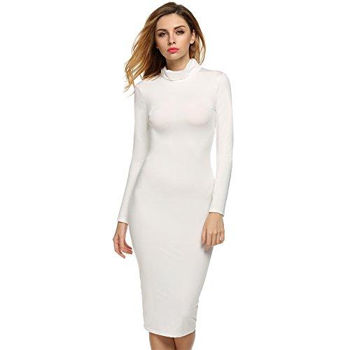 White Turtleneck Dress (Zeagoo Women's Turtleneck Long Sleeve Mid Length Bodycon Bandage)