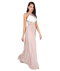 Krisp Contrast Diamante Prom Maxi Dress (Cream/Taupe, US 4 / UK 8),[5274-CRMTAU-08]
