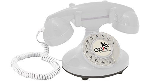 OPIS FunkyFon cable: Rotary dial disc telephone in the sinuous style of the 1920s with modern electronic bell (white) ()
