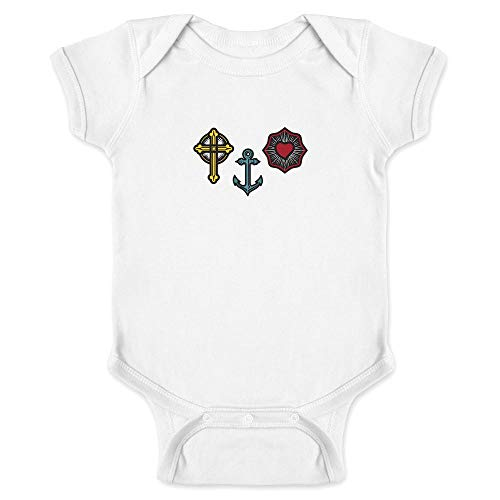 Faith Hope and Love Symbols Christian Religious White 24M Infant Bodysuit
